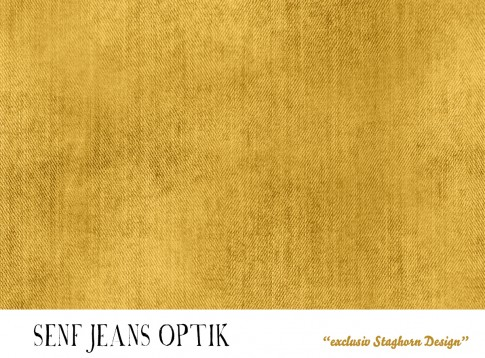 *Jeans Optik Senf* Bio Jersey *American History Serie* *Staghorn* Eigenproduktion