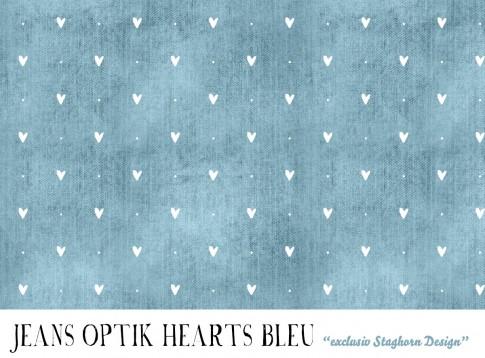 VORBESTELLUNG *Herzen Jeans Optik Bleu* Bio Jersey *Girlie Love Serie* *Staghorn exklusiv* Eigenprod
