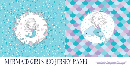 VORBESTELLUNG *Reloaded Mermaid Panel* Bio Jersey Panel *Mermaid Girlies Serie* *Staghorn exklusiv*