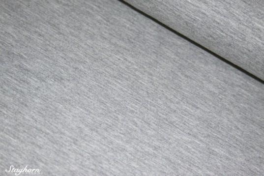 Uni meliert Jersey Baumwolle hellgrau meliert