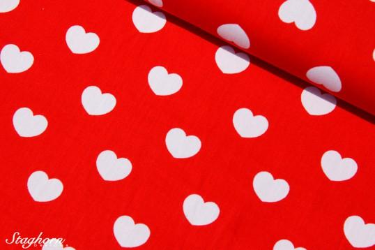 Herzen groß Baumwollstoff rot weiß