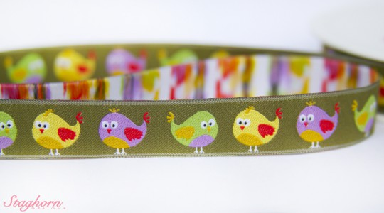 Webband süße Vögel Farbe grün