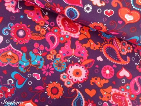 Wachstuch beschichteter Blumenstoff Patchwork lila