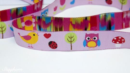 Webband Eulen & Vögel Lovebirds rosa