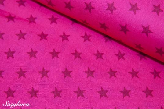 Sterne pink bordeaux Baumwollstoff zweifarbig
