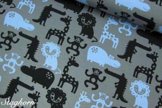 Jersey Tiere *Tillmann* grau hellblau schwarz