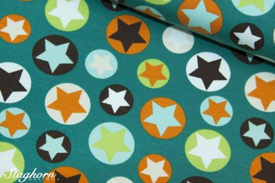 Jersey Sterne *stars* petrol orange brandneu