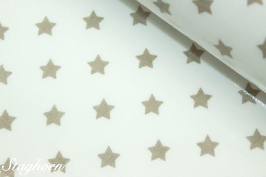 Wachstuch Sterne weiß beige