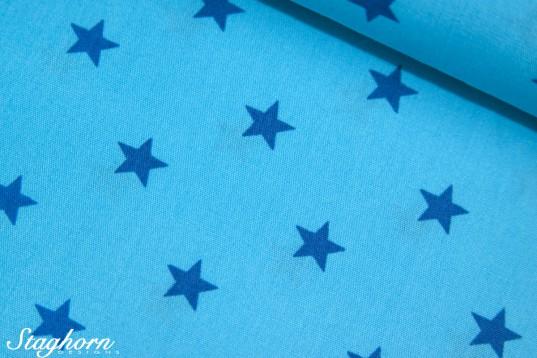 Sterne türkis blau Baumwollstoff zweifarbig
