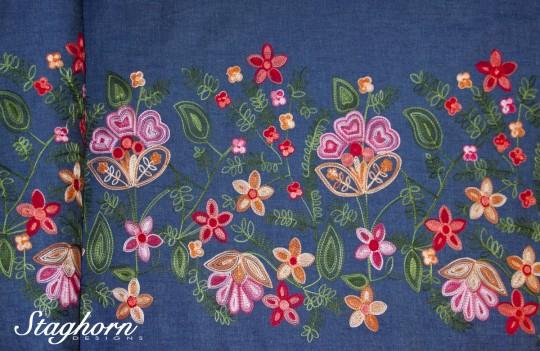 Sonderpreis Bordüren Jeans Stoff *denim fleur* denim