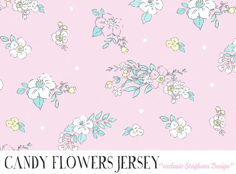 *Candy Flowers* Bio Jersey *Pastel Rainbow Girlies*