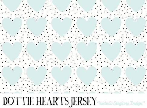 Dottie Hearts Bio Jersey mint weiß