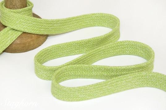 Melierte flache Baumwoll Kordel hellgrün - Hoodie Band ca. 2cm