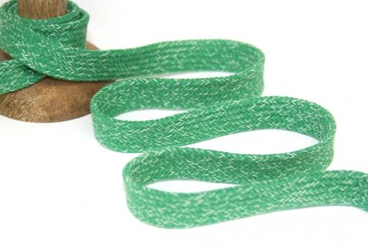 Melierte flache Baumwoll Kordel grün - Hoodie Band ca. 2cm