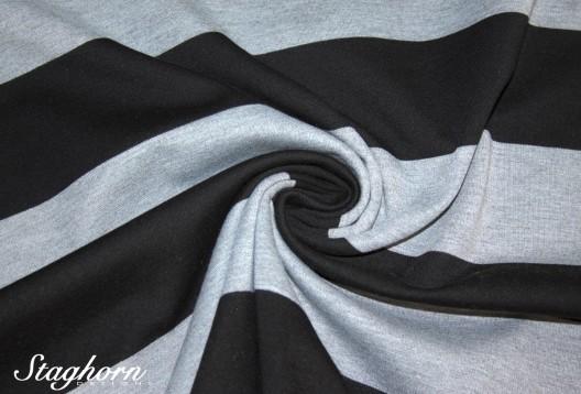 Punta de Luxe Jersey *Blockstreifen* schwarz grau meliert - schwerer Jersey