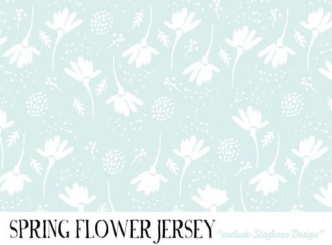 Spring Flowers Bio Jersey mint weiß