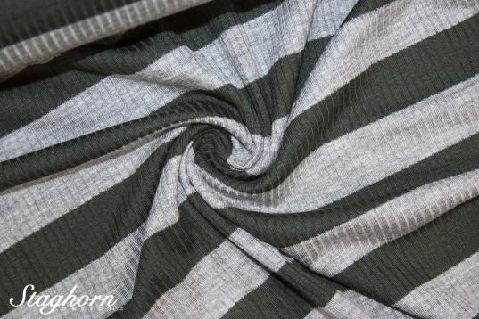 Viskose Rippen Jersey khaki breite Streifen 2cm - Öketex 100 - elastisch