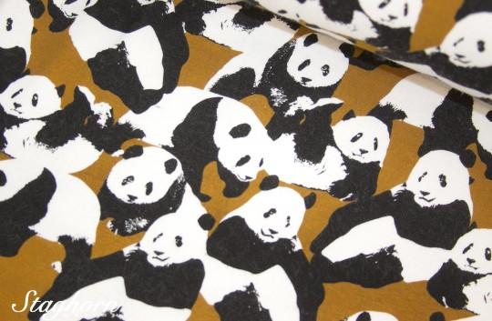 Kuscheliger Alpenfleece Sweat senf gelb *Pandabären* - Oeketex - elastisch