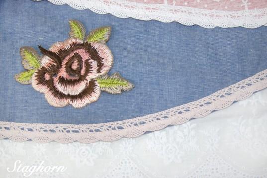 Applikation *Rose* rosa braun - 9x 11 cm - aufbügelbar