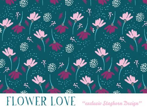 Flower Love Bio Jersey petrol