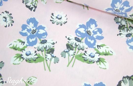 Jeans Stoff *Blumen* rosa - mit Stretch