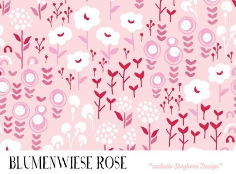 *Blumenwiese rose* Bio Jersey *Oster Girls Serie* Staghorn exklusiv