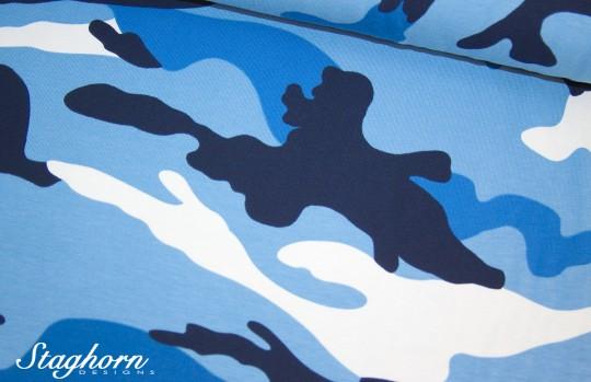 Tagesangebot Camouflage Jersey groß blau *Camou* Jersey - Oeketex - elastisch