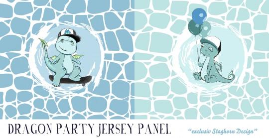 VORBESTELLUNG *Bleu Mint Dragon Party Panel* Bio Jersey *Dragon Party Serie*