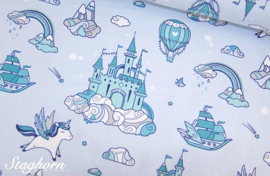 Einhorn Jersey *Unicorn Dream* Jersey hellblau - elastisch - Oeketex