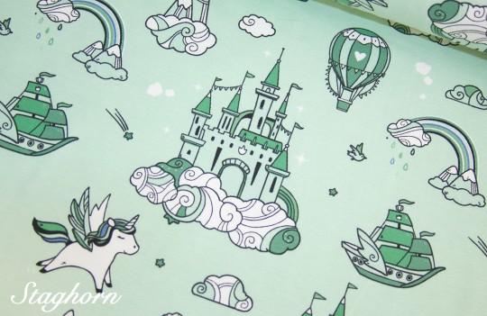 Einhorn Jersey *Unicorn Dream* Jersey mint - elastisch - Oeketex