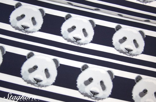 Panda Jersey Streifen navy *panda stripes* - elastisch - Oeketex