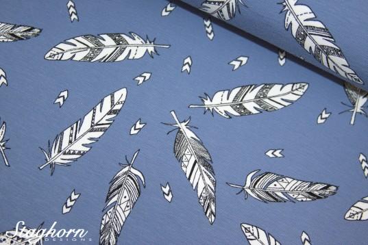 Grafik Jersey *Feathers* rauchblau