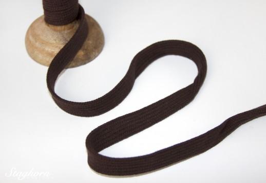 Flache Baumwoll Kordel/ Band - braun - ca. 1,5cm