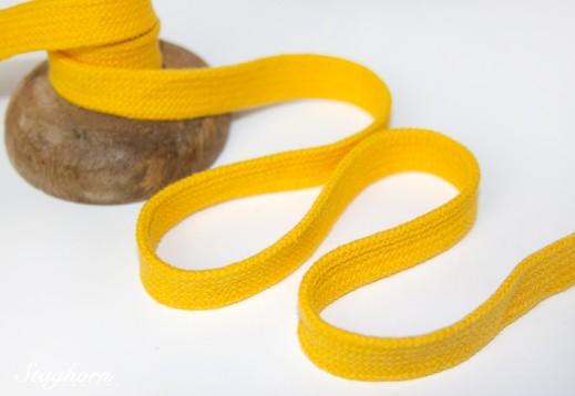 Flache Baumwoll Kordel/ Band - gelb - ca. 1,5cm
