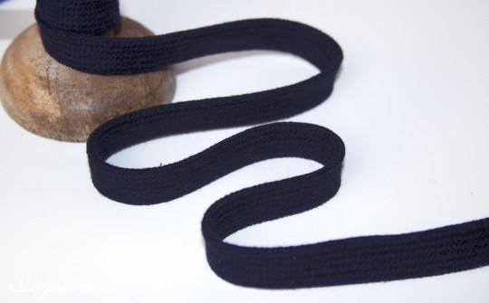 Flache Baumwoll Kordel/ Band - navy - ca. 1,5cm