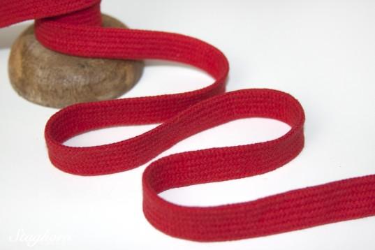 Flache Baumwoll Kordel/ Band - rot - ca. 1,5cm