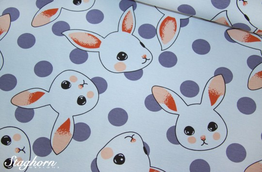 Frühlings Hasen Jersey bleu *sweet bunnies* - Öketex 100