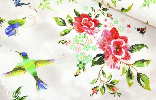 *Kolibri Dream ecru* Jersey Digitaldruck Oeketex - elastisch