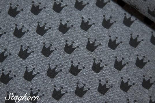 Vintage Sweat Denim Style *Krönchen* mittelgrau meliert - elastisch - Ökotex