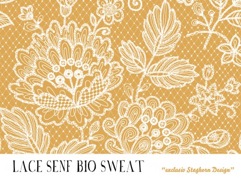 VORBESTELLUNG *Lace Senf* Bio Sweat *Sewing Girls Serie*