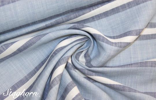 Hochwertiger Leinenstoff Streifen blau hellblau *Linen Love* - Blusenstoff