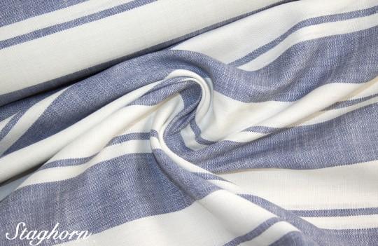Hochwertiger Leinenstoff Streifen blau creme *Linen Love* - Blusenstoff