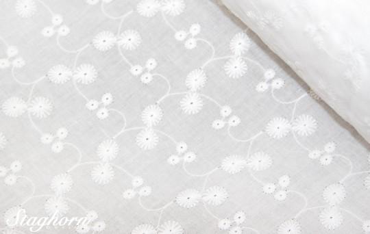 Lochstickerei Baumwolle *Blumen Ranke rund* weiß