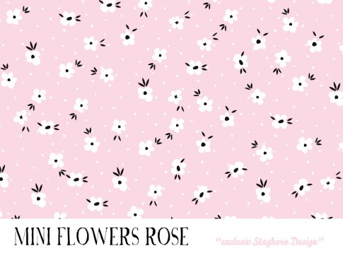 *Mini Flowers Light Rose* Bio Jersey *Bubble Girls Serie Mint Rose* Staghorn exklusiv