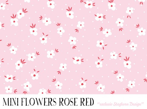 *Red Rose Mini Flowers* Bio Jersey *Bubble Girls Serie Blue Rose* Staghorn exklusiv