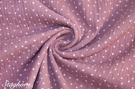 Punkte Musselin Vintage dusty rose *dots* Baumwollstoff 100% Baumwolle - Oeko Tex