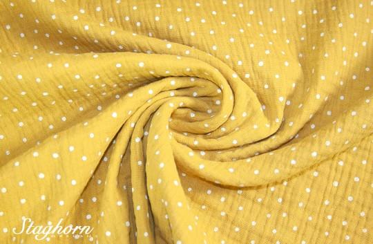 Punkte Musselin Vintage senf *dots* Baumwollstoff 100% Baumwolle - Oeko Tex
