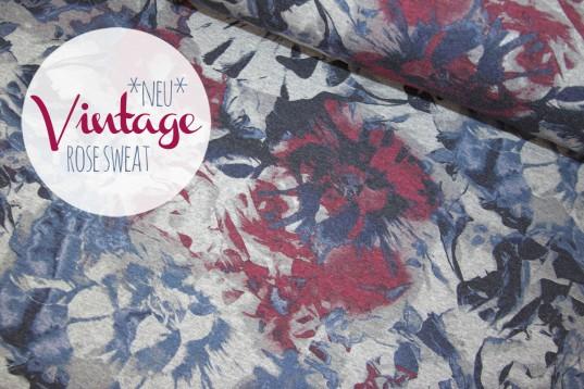 Vintage Rose Sweat *blue red*