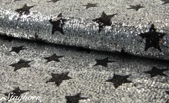 Pailetten Sterne Stoff *shiny stars* silber