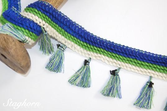 Quastenborte grün blau *Boho Style* - 7cm breit